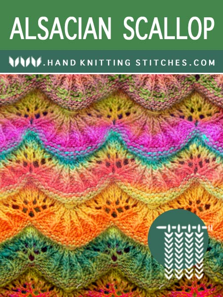 The Art of Hand Knitting ♡ Alsacian Scallop Lace Pattern #handknitting #knittingstitches #knitlace