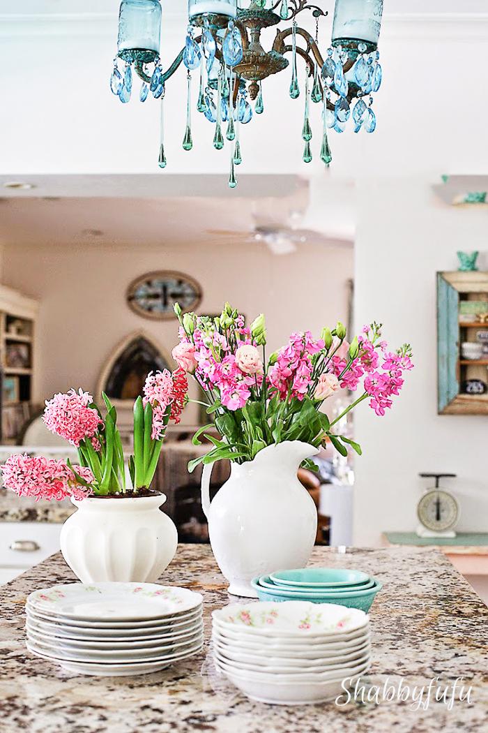 white kitchen with aqua