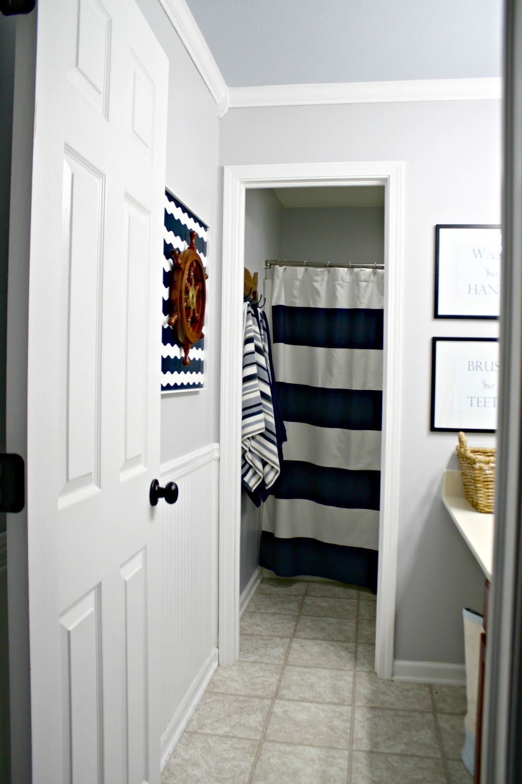 Lovely Gray and blue boy us bathroom