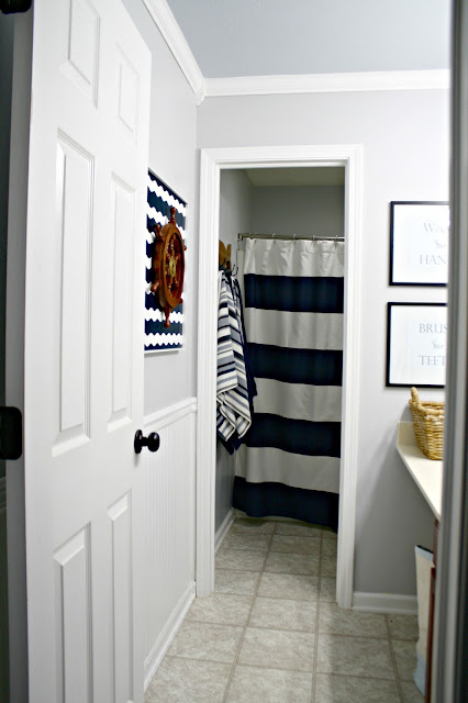 Gray and blue boy's bathroom
