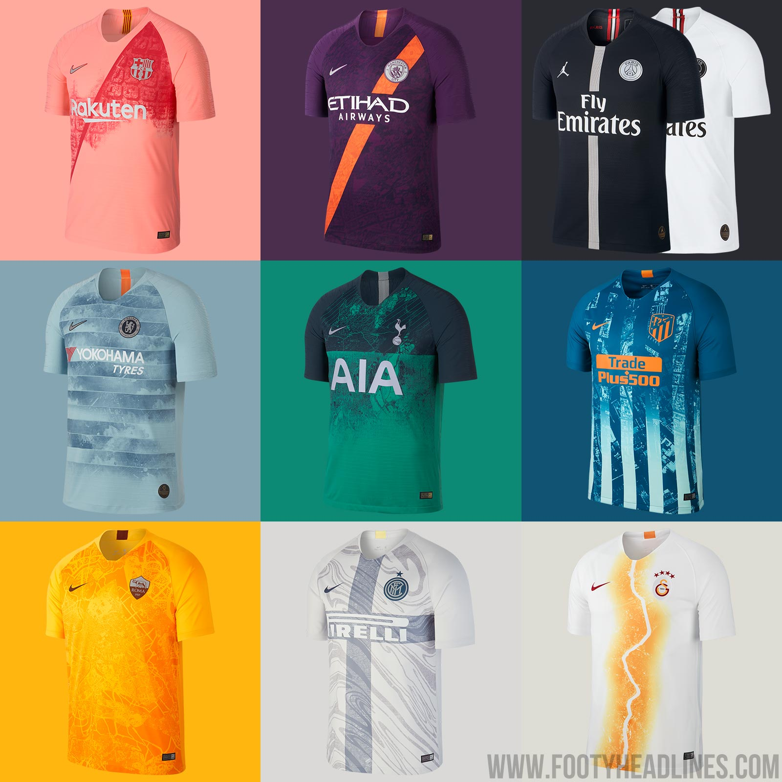 d41e799397a All Nike 2018-2019 third kits feature a bespoke graphic design  representative for the each team and their city, e..g. Galatasaray's kit  features a Bosporus ...