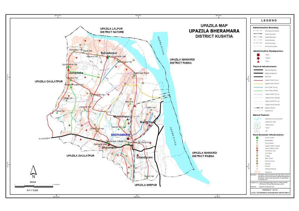 Bheramara Upazila Map Kushtia District Bangladesh