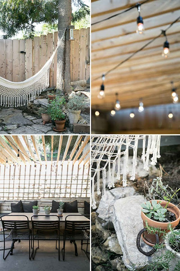 hamaca, guirnaldas, terraza