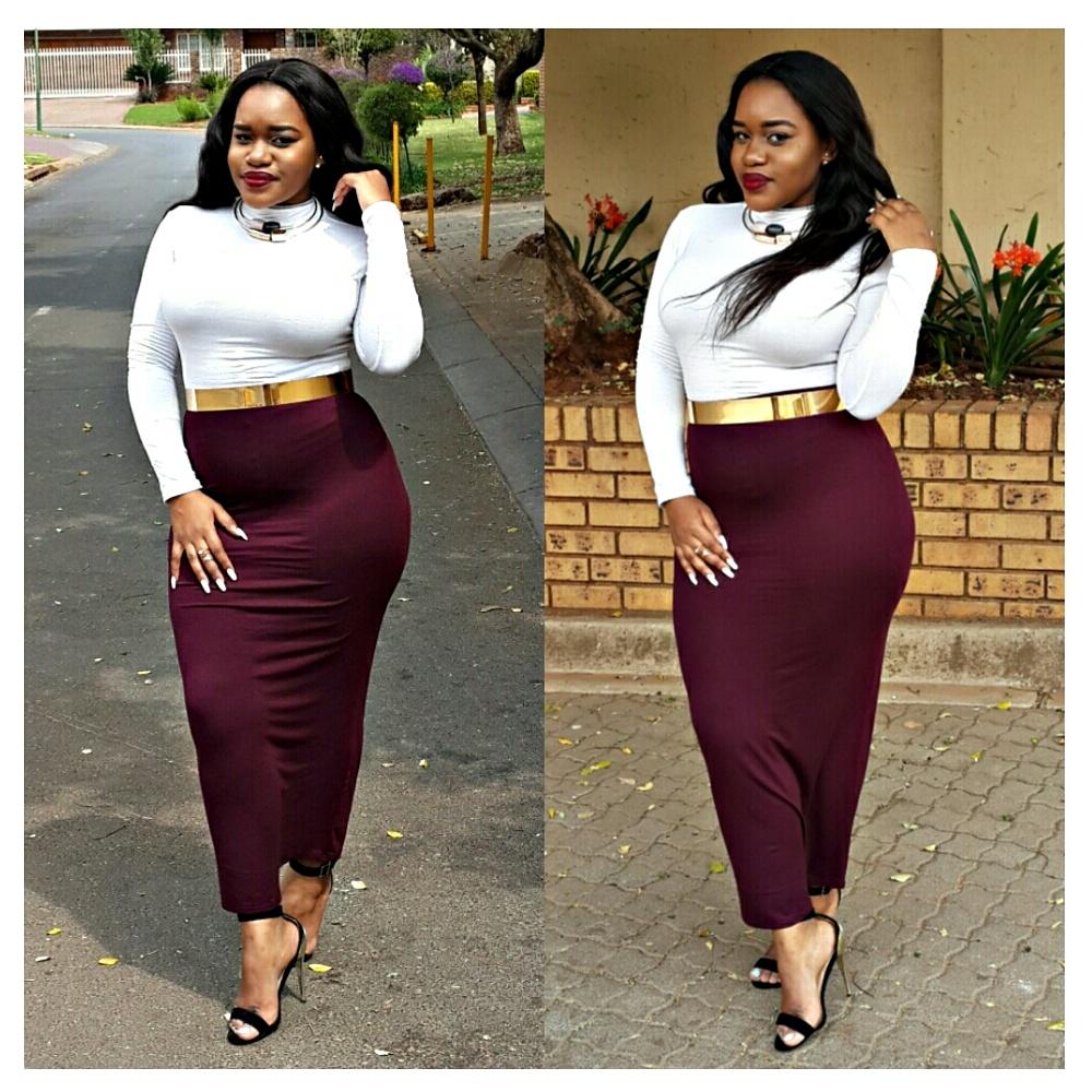 e90af389242e9 Kim Kardashian Inspired Look - Ankle Pencil Skirt - KLOSET LA CHAZ