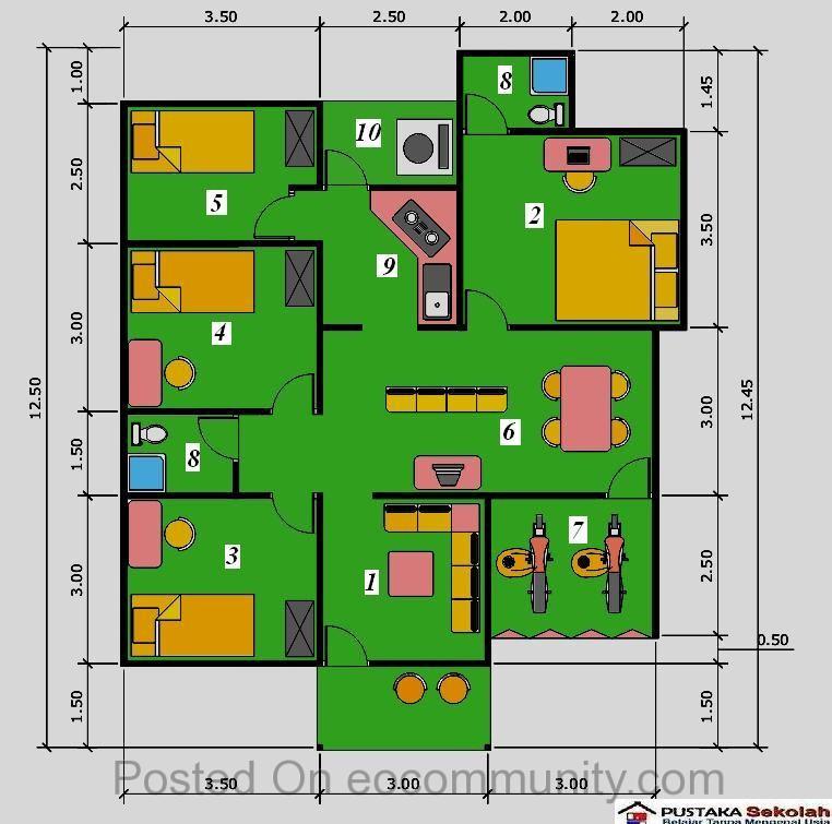 denah rumah minimalis ukuran 6x8m 3 kamar 2