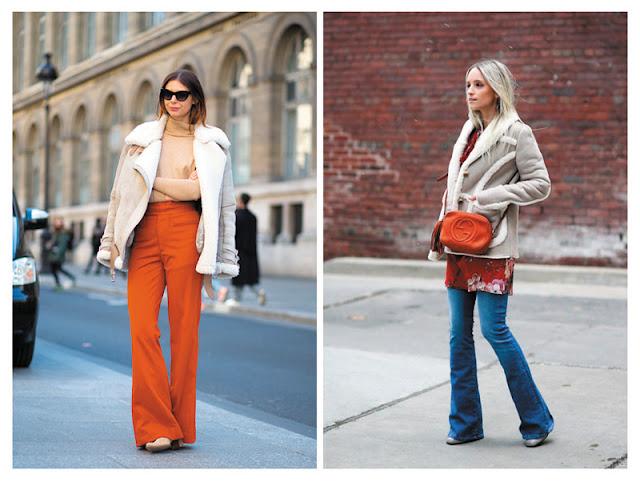 Образы с дубленками и брюками клеш с улицы