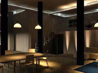 render de un interior: iluminación eléctrica por la noche