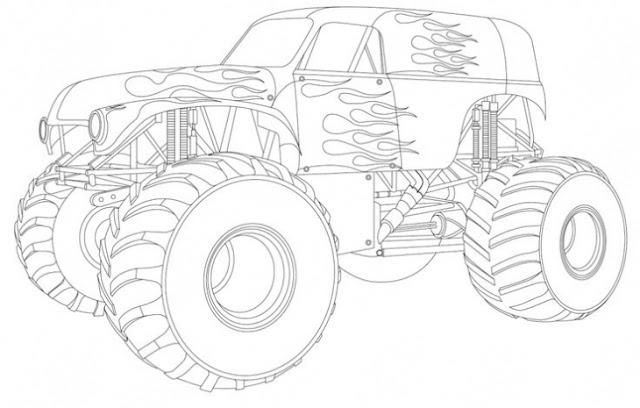 coloriage gros véhicule avec flammes