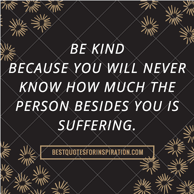 Be kind, because you will never know how much the person besides you is suffering.- Buddha Quotes