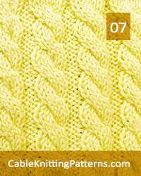 Cable Knitting 07. Knitted using an easy to follow pattern of a simple 6 row repeat, technique used: 3/3 left cross