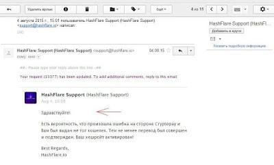 Служба поддержки HashFlare работает быстро