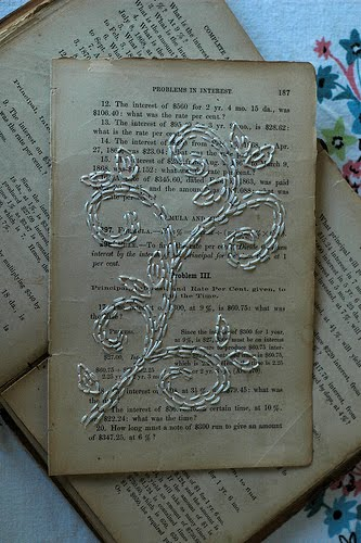paper stitching on vintage book page