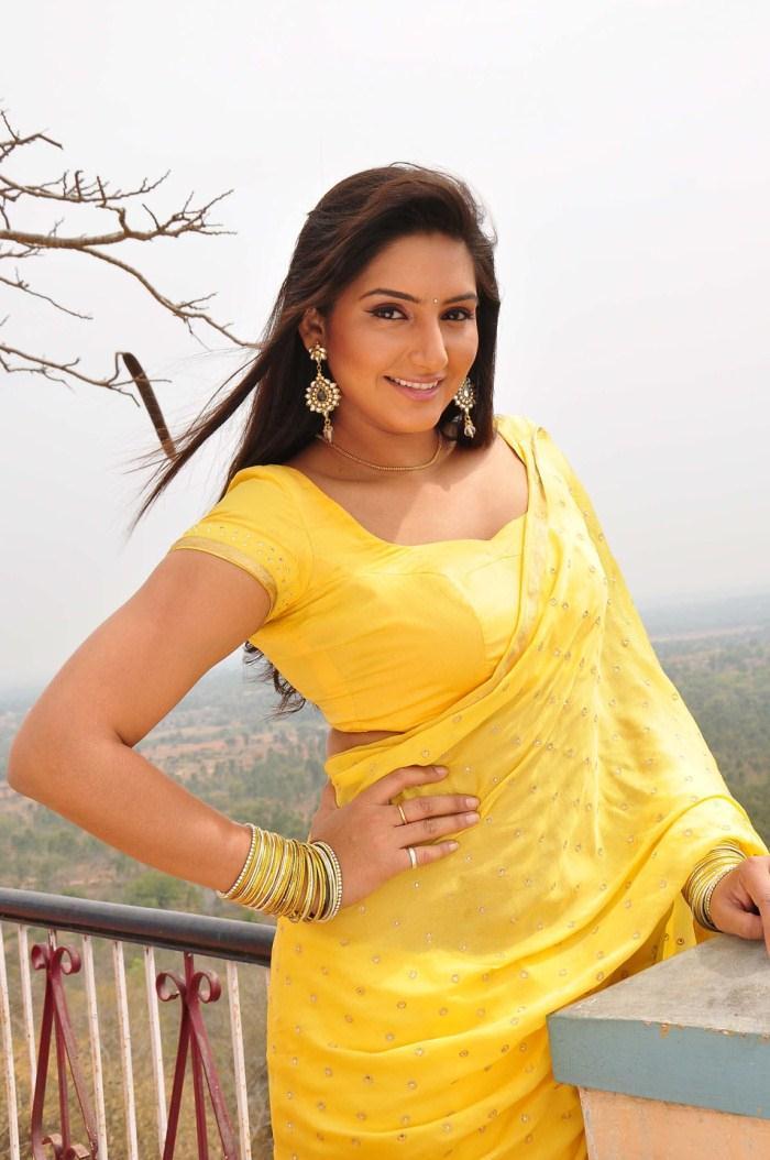 Ragini Dwivedi Awesome In Yellow Saree Pics Beautiful -1173