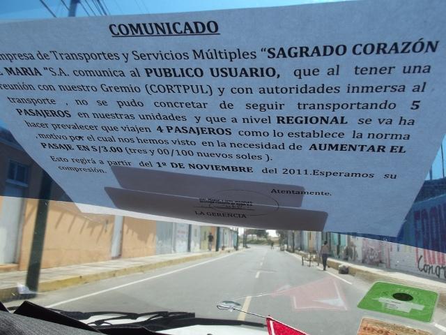 Aviso que se publica en todas las unidades que circulan la ruta Chiclayo - Ciudad Eten