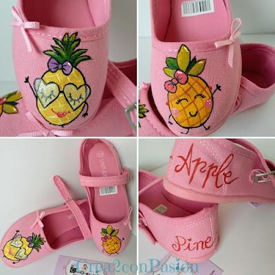 Collage-Zapatillas-rosas-infantiles-pintadas-a-mano-con-piñas-estilo-kawaii-crea2-con-pasión