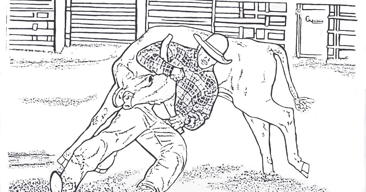RODEO COLORING PAGES: Steer Wrestling Color Page By