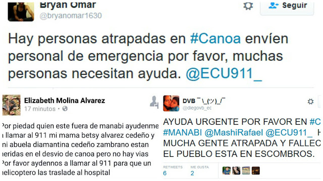 canoa ayuda terremoto ecuador