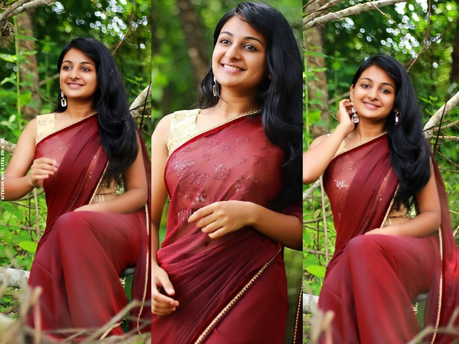 Esther Anil Hot Saree Navel