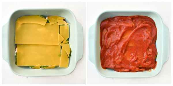 how to make spinach and corn lasagne - step 4 (another layer or pasta sheets topped with tomato sauce)