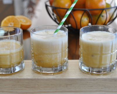 Orange Julius Drinks ♥ KitchenParade.com, four ways to use fresh oranges plus extra protein. Just Two Ingredients! Weekday Easy, Weekend Special. Weight Watchers Friendly. Gluten Free.
