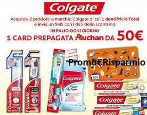 Logo Colgate ti regala Card prepagate Auchan da 50 euro