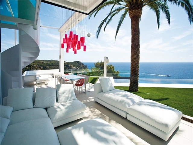 Picture of white furniture on the terrace with single palm tree