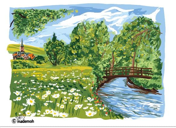 nuance de couleur peinture - paysage campagne exercice nuance couleur comicstar