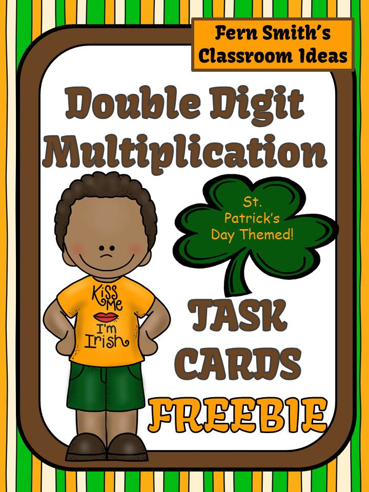 Fern Smith's Classroom Ideas FREE Two Digit By Two Digit Multiplication St. Patricks Day Task Cards