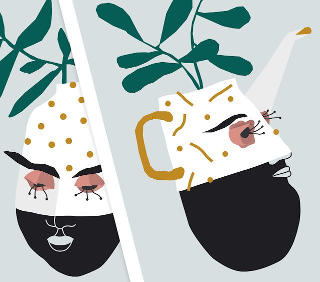 Ilustración de Jarra y Jarrón. Ilustración cerámica y plantas - Vase and tea por illustrations. Pottery sprints