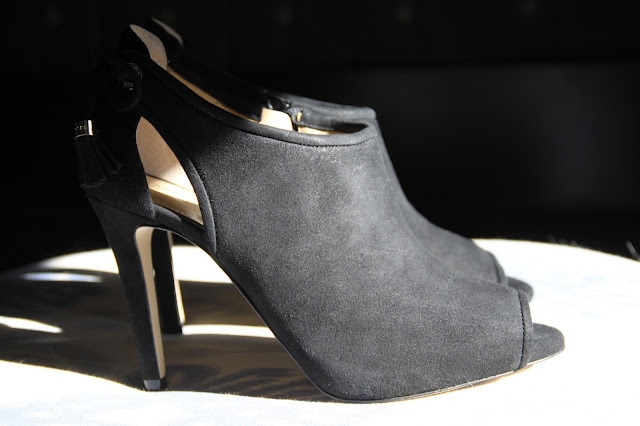 Michael Kors, suede, peep toe booties