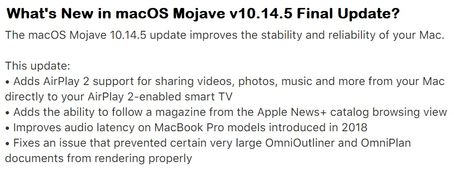 macOS Mojave v10.14.5 Final Update Features Changelog