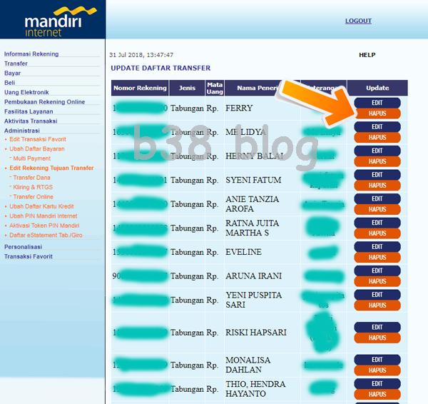 Cara Hapus Daftar Transfer Mandiri Online