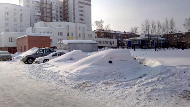 Машины полностью в снегу