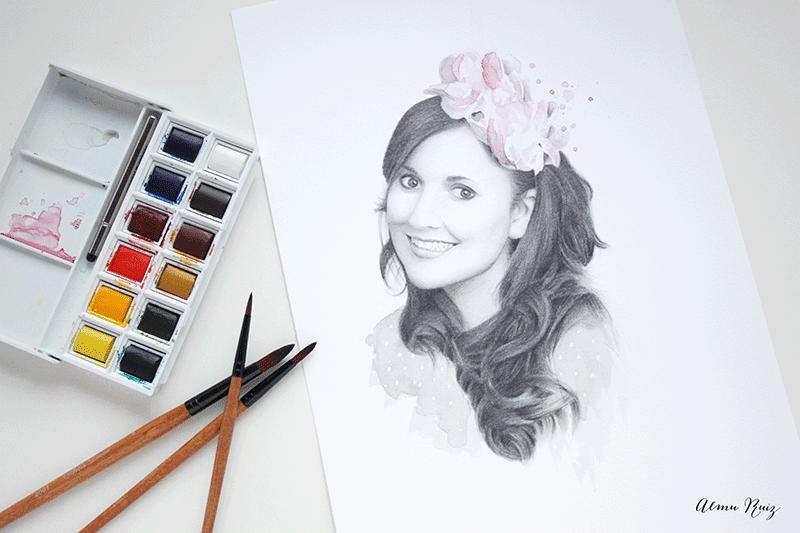 Retrato dibujado a lápiz y acuarela Hermanas Bolena