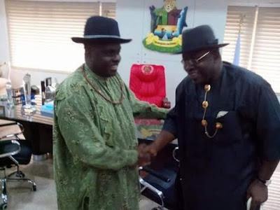 Bayelsa State Governor, Dickson receives James Ibori at the Government House