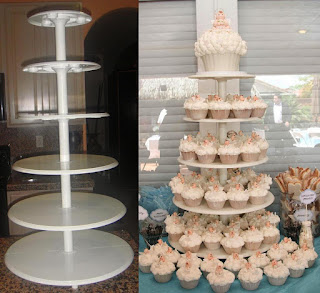 Beautiful Towering Tiers Wedding Cake and Cupcakes Stands