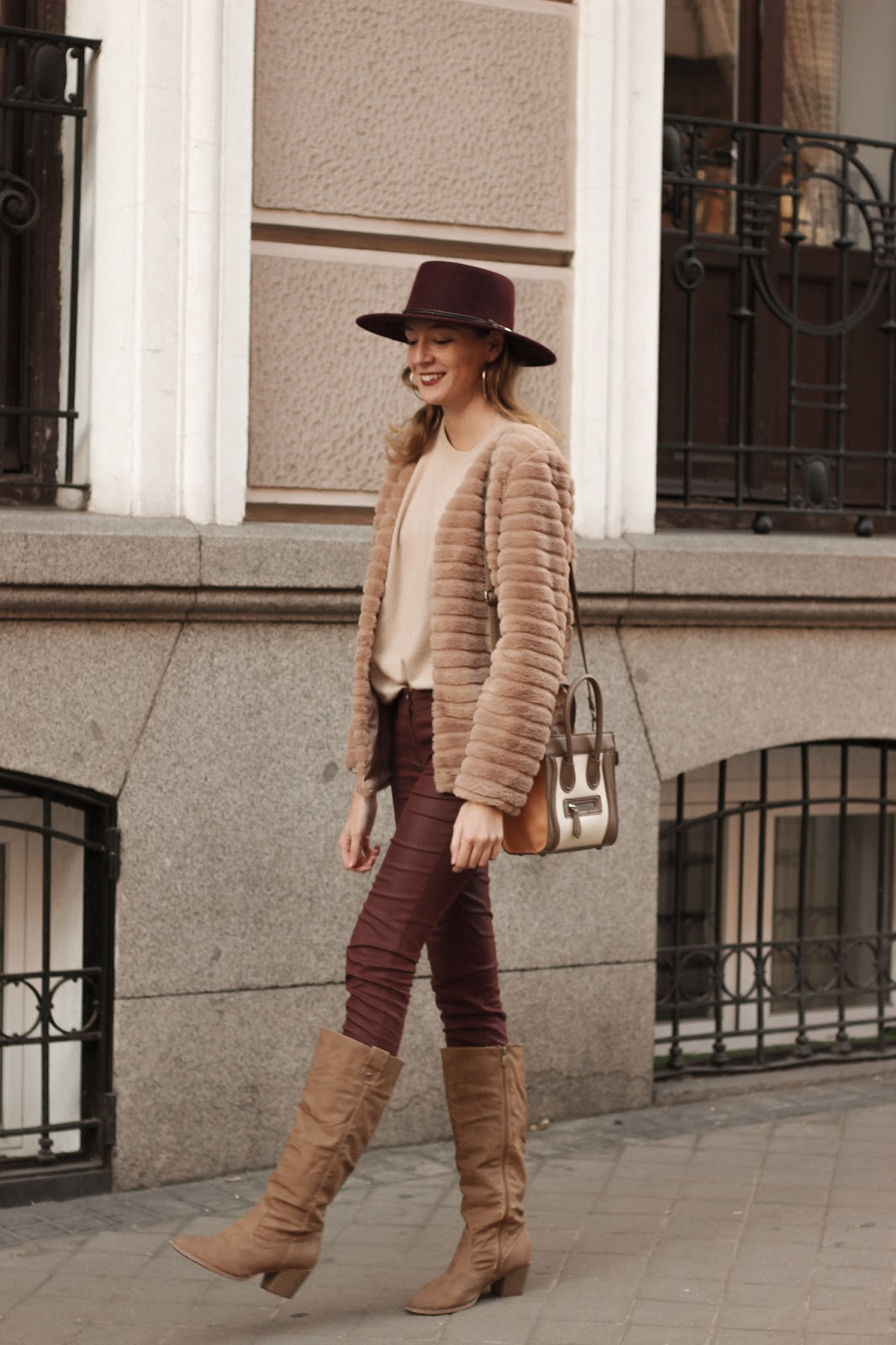 fluffly-jacket-burgundy-pants-over-the-knee-boots-street-style