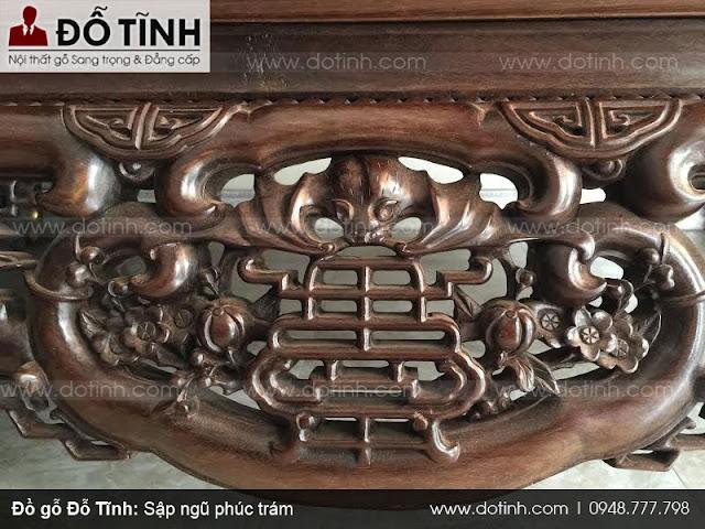 Hình ảnh chữ Ngũ Phúc trong đồ gỗ mỹ nghệ