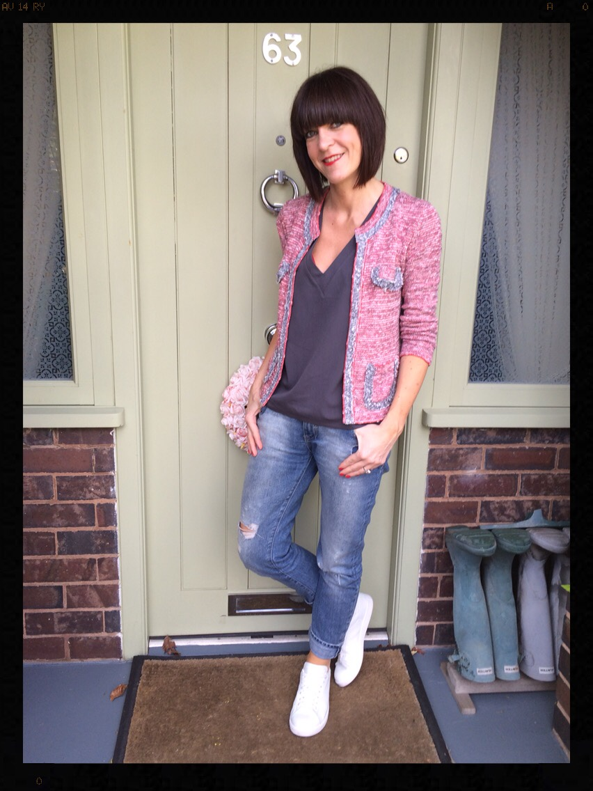 My Midlife Fashion, Hush, Zara, Mango, Knitted Jacket, Trainers, Boyfriend Jeans, Distressed Denim