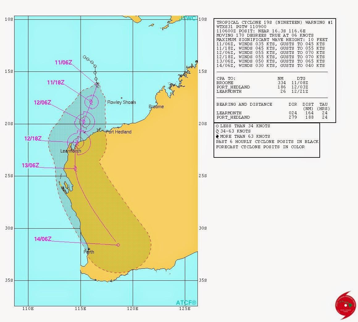 Tropical Cyclone OLWYN To Hit Western Australian Coast At ...