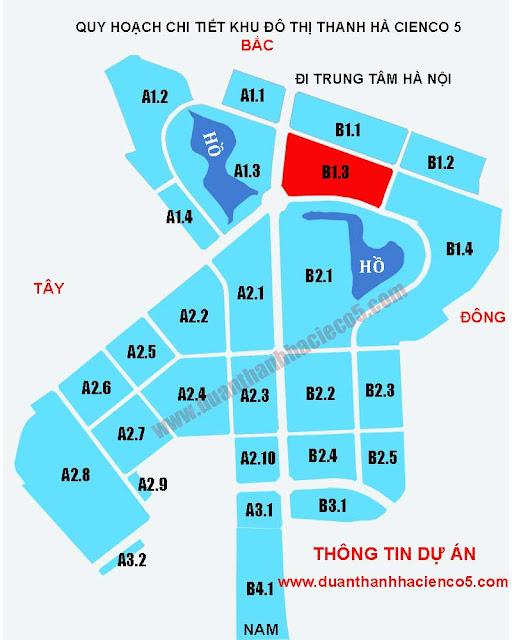 Sơ đồ khu B1.3 dự án Thanh Hà Cienco 5 Hà Đông Mường Thanh