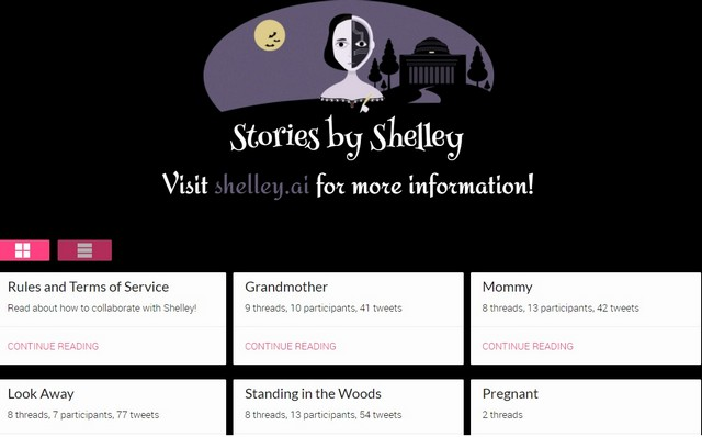 shelley ai webpage with stories in pan