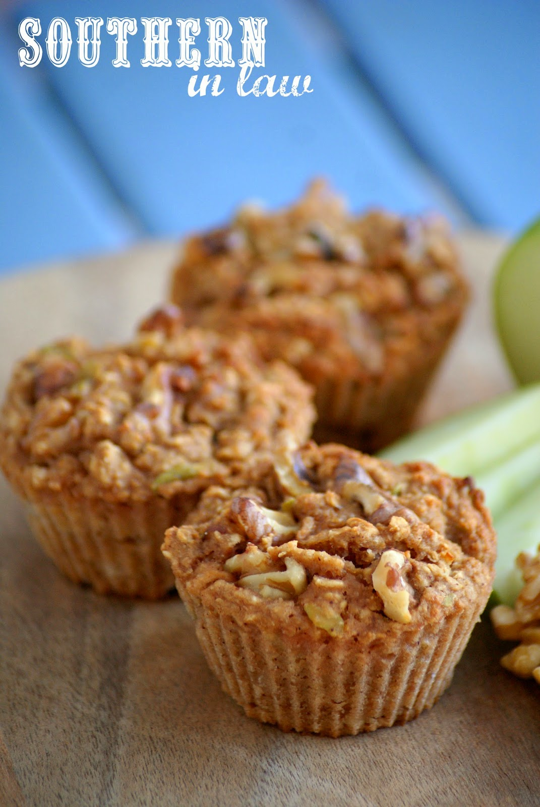Gluten Free Apple Walnut Muffins Recipe - healthy, gluten free, refined sugar free and freezeable muffin recipe