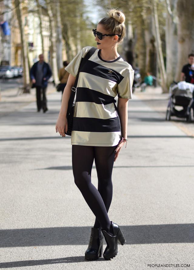 street style looks may zagreb Jana Fabijanić, how to wear striped mini dress