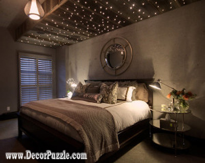 stretch ceiling with twinkle lights, bedroom ceiling designs ideas