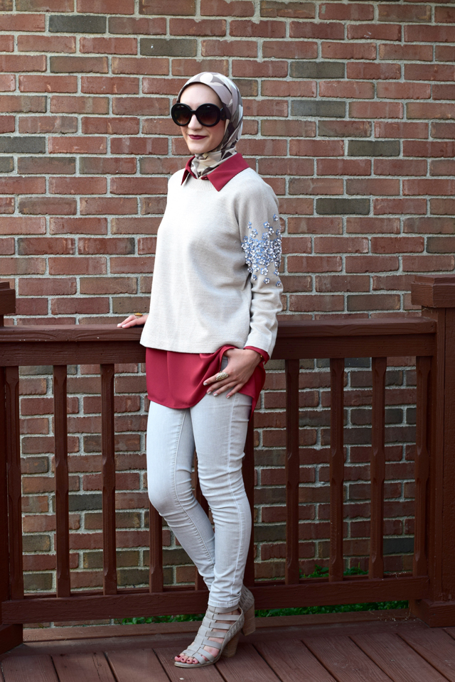 A Day In The Lalz; Autumn Rust; Fall Sweater; Jeweled Sweater; Floral Embellished; J. Crew; Nordstrom Rack Blouse; Booties; Prada Sunglasses: Haute Hijab; Fashion Blog; Modesty; Layers