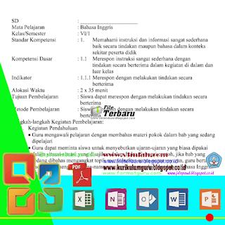 Download RPP jenjang Sekolah Dasar (SD) KTSP 2016 Mata Pelajaran Bahasa Inggris