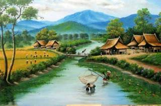 Lukisan Pemandangan Desa; Contoh Karya Seni Yang Menentramkan Jiwa