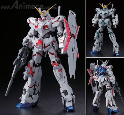 Unicorn Gundam RX-0 (Red/Green Frame Twin Frame Edition) Titanium Finish Master Grade (MG) 1/100 Model Kit Mobile Suit Gundam Unicorn