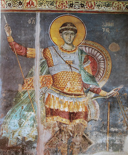 Saint Demetrius of Protat - Fresco of St. Demetrios by Manuel Panselinos in the Church of Protaton on Mount Athos